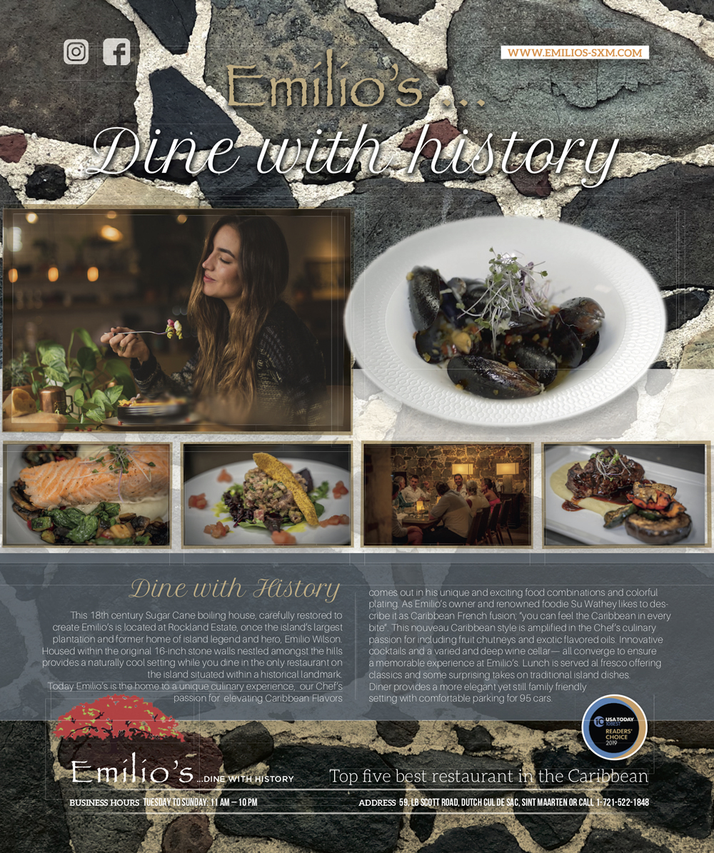 Emilio's is a fine dining experience showcasing the best from International and Caribbean dishes - Sint Maarten