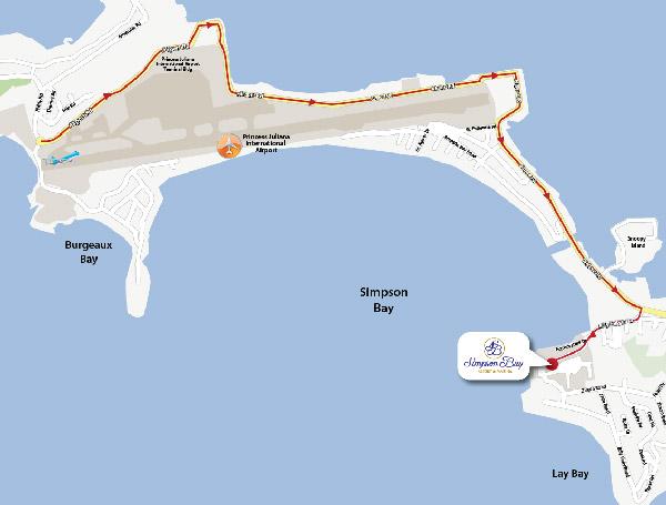Airport Map Simpson Bay Resort, Marina & Spa